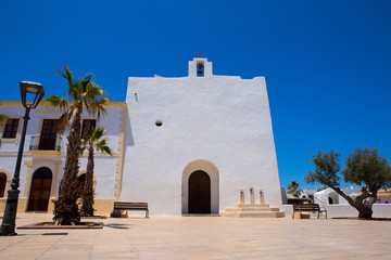 Sant Francesc Javier white church in Formentera