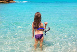 aqua beach in ibiza formentera rear kid girl