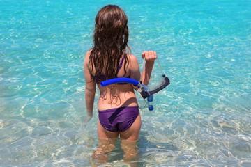 aqua beach in ibiza formentera rear kid girl