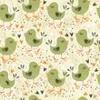 uczucia zielonych ptaszków na jasnym tle