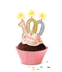 Cupcake mit Kerze und die Zahl 100