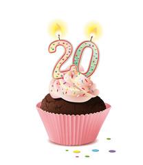 Cupcake mit Kerze und die Zahl 20