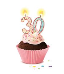 Cupcake mit Kerze und die Zahl 30