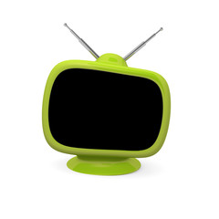 Green retro television with space for text