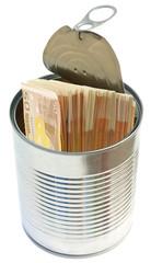 billets cachés dans boîte de conserve