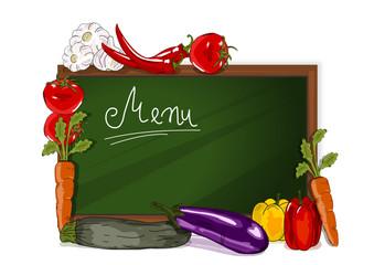Tafel, Menukarte  mit Gemüse