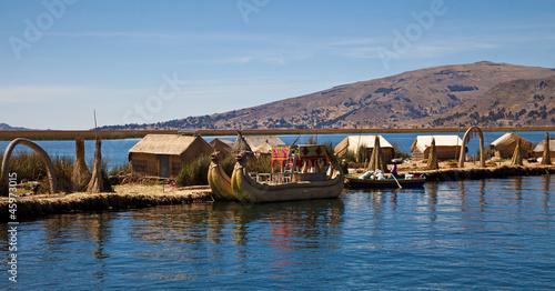 The floating and tourist  Islands of lake Titikaka Puno Peru Sou