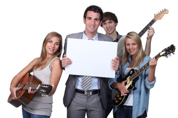 Young people playing guitar