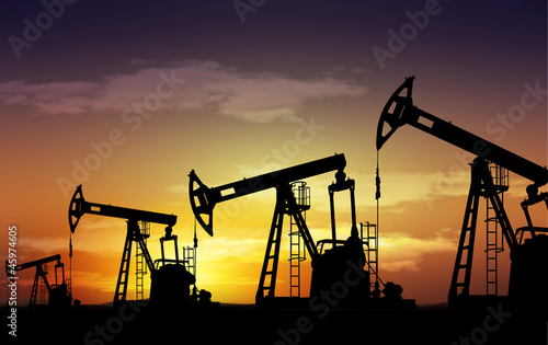 Leinwanddruck Bild pump jack oil field