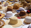 Hats display on a street market outdoor