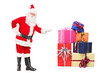 Full length portrait of a smiling Santa Claus offering presents