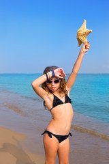 blue beach girl with bikini starfish and sunglasses
