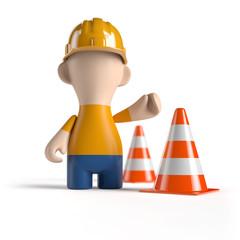 Achtung - Baustelle! Bauarbeiter mit Pylon