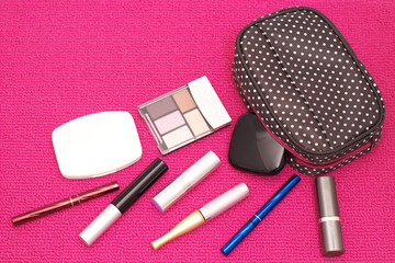 The scattered cosmetics with a cute pouch