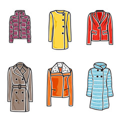 Women coats icon set