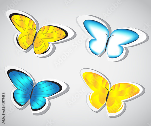 Collection butterfly sticker. Vector