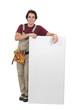 Handyman holding white board