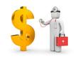 Doctor with stethoscope examine dollar