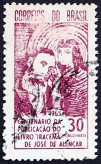 Postage stamp Brazil 1965 Jose de Alencar and Indian Princess