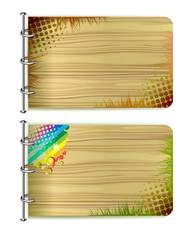Two wood banners with abstract colors