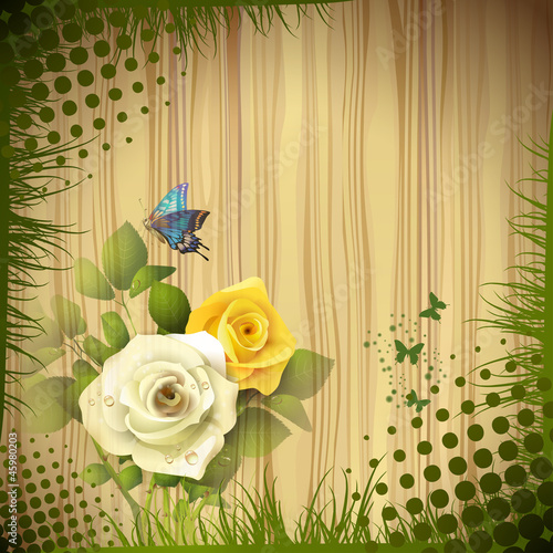 Wood background with roses and drops