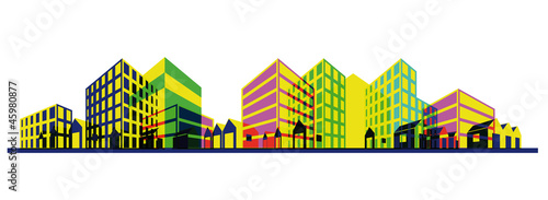 Colorful city silhouette. Abstract perspective drawing, Eps10