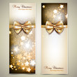 Greeting cards with golden bows and copy space. Vector illustrat