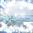 Elegant Christmas background with blue bow and place for text. V