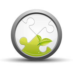 Puzzle button, green leaf concept