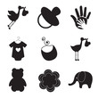 silhouettes of baby items