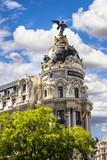 Metropolis building facade located at Madrid, Spain poster