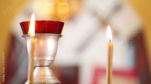 candles in the Christian church, on the background of icons