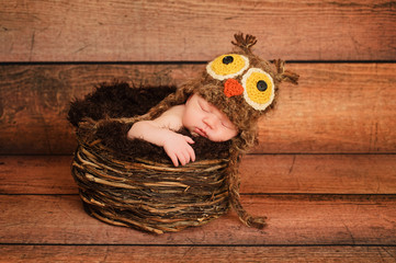 Newborn Baby Girl Wearing a an Owl Hat