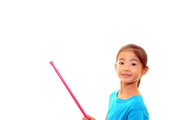 指示棒を持った女の子