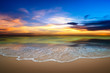Seascape background on the beach in twilight time