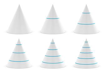cône plusieurs niveaux, forme cônique