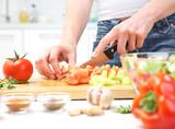 Fototapety Hands  cooking vegetables salad