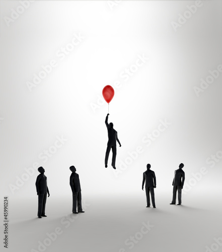 Tiny abstract man flying away on a balloon