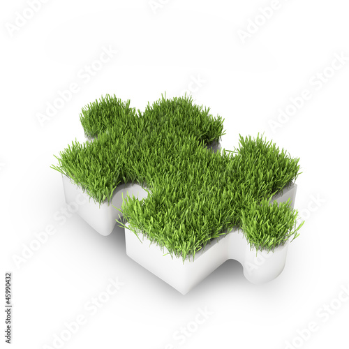 Grass covered puzzle piece