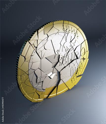 Euro coin falling apart