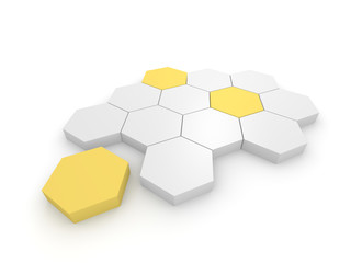 Abstract business illustration with 3d hexagonal blocks