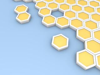 Hexagonal blocks laying on blue surface
