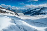Aletsch. Swiss Alp Glacier with high mountain. View from the top