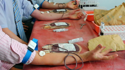 blood donors in medicine laboratory at donation