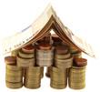 concept coût immobilier, billets, maison, pièces