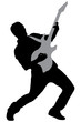 A silhouette of a rock star playing guitar
