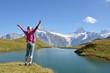 Traveler against Alpine scenery. Jungfrau region, Switzerland
