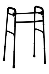 A silhouette of a walker, orthopedic equipment