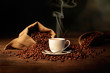 Leinwandbild Motiv tazzina di caffè fumante