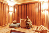 Interior of wooden russian sauna